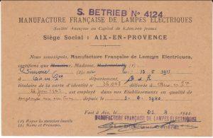 Carte d'identité d'un employé de la Manufacture Française de Lampes Électriques