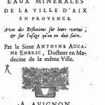 Les eaux d'Aix-en-Provence en 1705