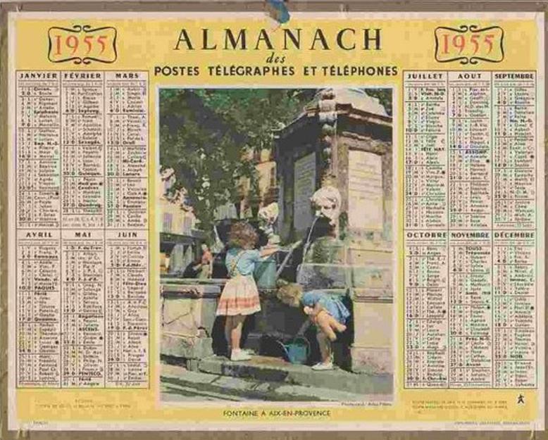 CALENDRIER 1955 AIX