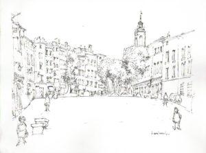 La place du Forum des Cardeurs par Henri Crespi