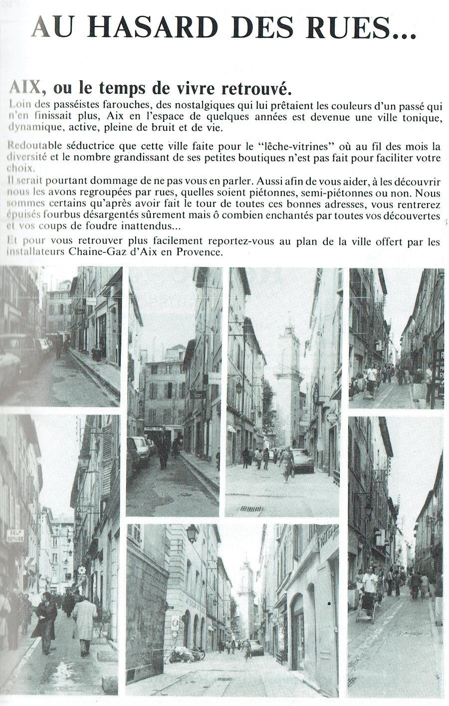 AIX AU HASARD DES RUES 1981