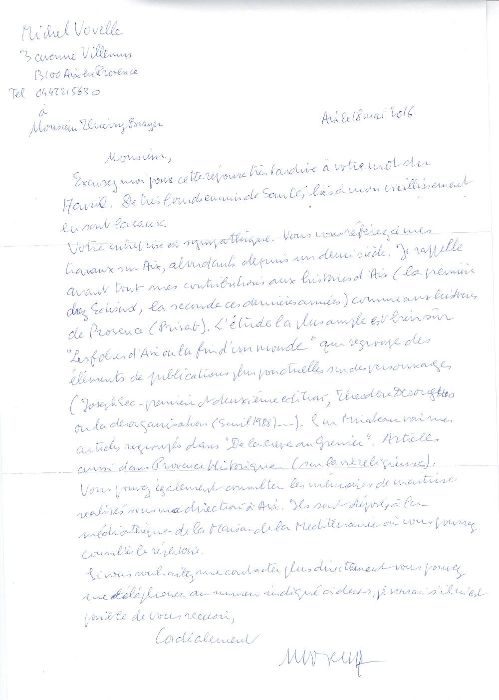 Michel Vovelle à Thierry Brayer L'Aixois