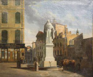 Huile sur toile de la fontaine du Roi René