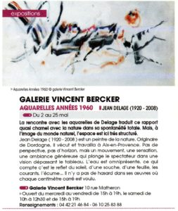 Expo Jean DELAGE (1920-2008) Aquarelles Années 1960 - MAI 2019 Galerie Vincent Bercker