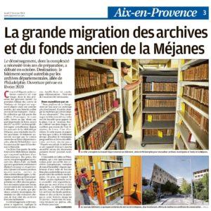 Transfert des Archives et du Fonds Patrimonial de la Méjanes