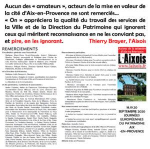 JOURNÉES AIX 2020 DU PATRIMOINE : Merci Madame le Maire Joissains